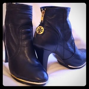 Tory Burch Gold w/ Black leather booties size 8.5